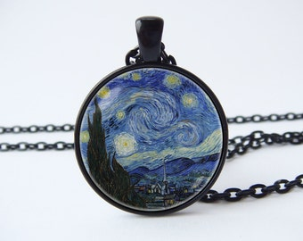 Van Gogh necklace Starry Night Van Gogh pendant Van Gogh jewelry Art Classic Art jewelry Van Gogh art Stylish gift Starry Night necklace
