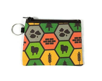 Settlers of Catan Coin Purse, Mini Zipper Pouch, Board Game Coin Pouch, Earbud Holder,  Change Purse, Coin Purse Keychain,