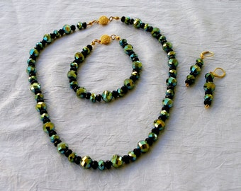 Jewelry Gift Set, Black and Blue Green Beads, Necklace, Earrings, and Bracelet Set, Metallic Shimmer