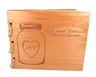 Mason Jar Guest Book - Real Wooden Wedding Guest Book