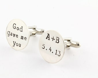 God Gave Me You Cufflinks - Sterling Silver Cuff Links -  Gift for Dad - Shirt Fastener - Wedding Cufflinks - Personalized Cufflinks