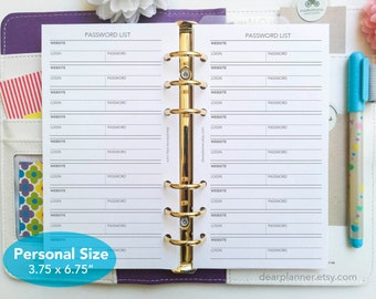 PRINTED Password keeper insert - Password list planner insert - Personal size password tracker - Personal size planner refill - P28