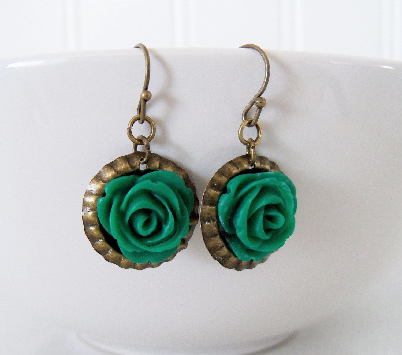 Flower Cabochon Earrings - Green Rose Dangle Earring - Vintage Brass Hook Earring - Flower Bottlecap Earring - Gift For Women Girls