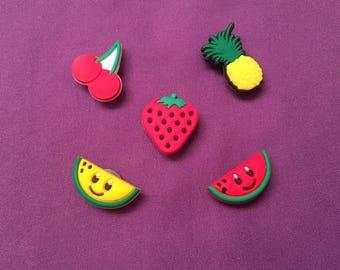 5-pc Fruits Shoe Charms for Crocs, Silicone Bracelet Charms, Party Favors, Jibbitz
