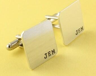 Initials Cufflinks - Square Cufflinks - Custom Cufflinks - Dad Cuff Links - Shirt Fasteners - Silver Cufflinks - Monogram Cufflinks