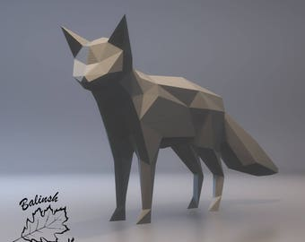 FOX DIY 3D papercraft PDF paper sculpture template, origami kit, Paper Animal Head, Make Your Own Trophy! low poly Printable model templates
