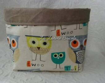 Basket pattern owls fabric