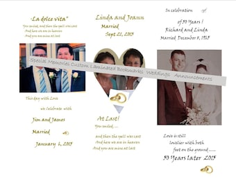 BOOKMARKS / Custom Bookmarks/ All Occasions Births Anniversary Weddings Memorials Engagements Etc./  Personal Custom Bookmarks