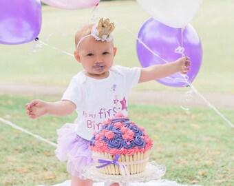 1st birthday crown, birthday party hat, birthday photo shoot, gold birthday hat, cake smash photo prop - Choice of 5 colours