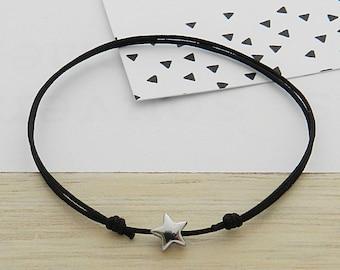 Small cord bracelet star Hematite