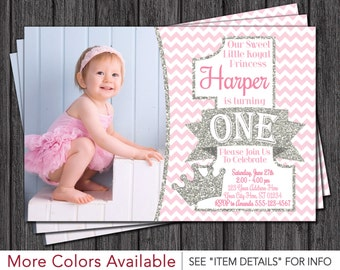 Princess First Birthday Invitation - Pink and Silver 1st Birthday Invitations