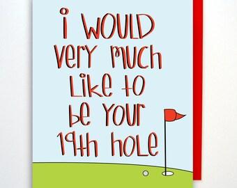 Funny Naughty Card, Birthday Card, Golf Card, Card, Anniversary Card, Card for Boyfriend, Card for Girlfriend,Card for Him, Love Card