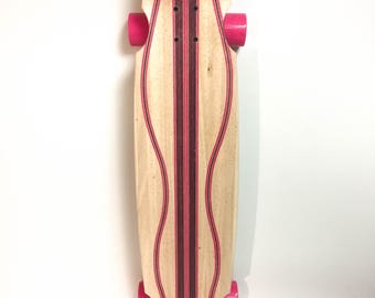Handcrafted Infused Pink and Purple Longboard Skateboard