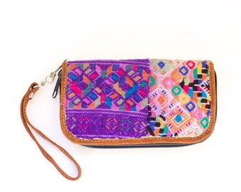 SBV Guatemalan Leather and Huipil Textile Clutch Wallet