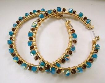 Swarovski Crystal Wire Wrapped Hoop Earrings