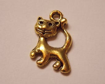 Cute metal cat charm gold plated high quality