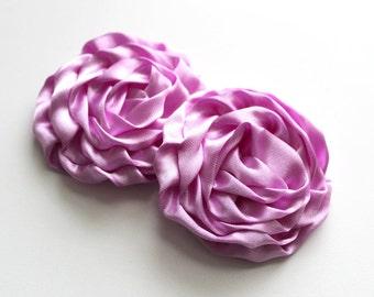 2 Large Satin Rolled Rose/Rosettes--Lavender