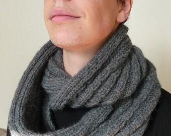mens knit cowl - chunky knit scarf - infinity scarf - loop scarf - handknit scarf - wool alpaca scarf - mens circle scarf - boyfriend gift