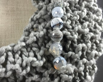 Wearable Fiber Art, Mindful Wrap-Faceted Agate Beads on a Gray Cotton Mindfulness Mantle
