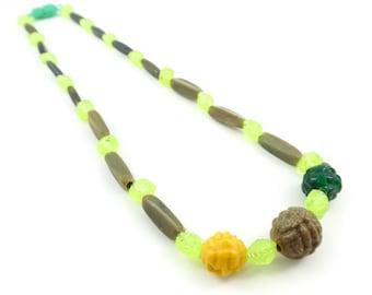 Vintage, Plastic Bead, Necklace, Hong Kong, Novelty
