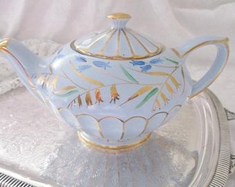 VINTAGE SADLER BLUE teapot 1940s bluebell handpainted teapot, 4 - 5 cup tea maker, tea party teapot, excellent condition
