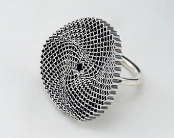 20% OFF Big Spiral Silver Ring, silver 925, sterling silver, oxidized, shiny finish, unique, contemporary jewelry