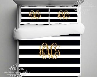 Gold Monogram Bedding - Black and White Stripe Dorm Comforter - Striped Dorm Duvet - College Bedding Set - Personalize with Name or Monogram