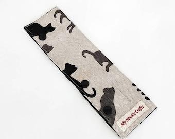 DPN holder, Circular Needle Holder, WIP holder in Cat print Linen, Needle Cozy, DPN cozy, dpn case