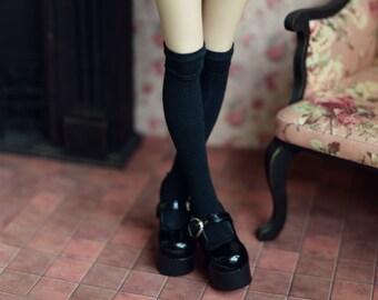Knee-length socks black for doll 1/4 slim msd minifee