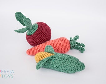 Crochet Vegetables Set, recycled cotton, crochet baby rattle, crochet carrot, crochet corn, crochet beetroot, baby play set, rattle kit