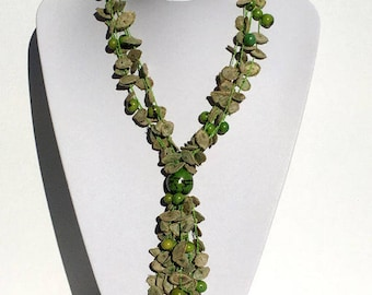 Statement Beaded Necklace; Handmade Necklace, Natural Seeds Beads