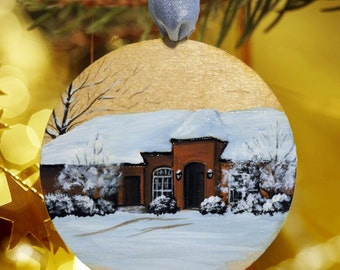 First Home Ornament, Custom House Painting, Hand Painted and Wood Burned
