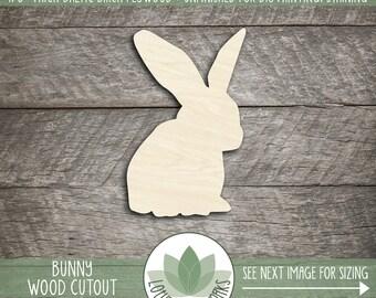Bunny Wood Cut Shape, Unfinished Wood Bunny Rabbit Laser Cut Shape, DIY Craft Supply, Many Size Options, Blank Wood Shapes