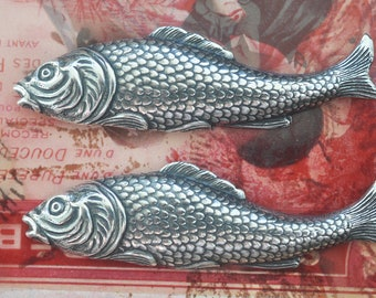 TWO Brass Fish Stampings, Sterling Silver Finish, Brass Stampings Made in the USA, Nautical