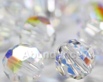 24 pcs Swarovski Elements - Swarovski Crystal Beads 5000 4mm Round Ball Beads - CLEAR AB