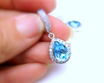 wedding jewelry bridal christmas prom party bridesmaid gift Clear white teardrop AAA cubic zirconia aquamarine blue crystal click hoop