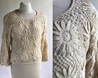 Vintage Alpaca Wool Crochet Flower Sweater Size Small