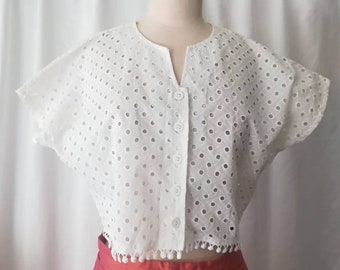 Cute French embroidered cotton blouse