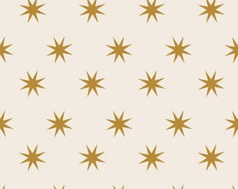 Gold Stars, Metallic Star Fabric, Cotton Fabric By The Yard,  Riley Blake, Quilting Fabric, Christmas Fabric, Fat Quarter, Christmas Project