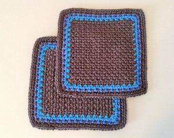 "Set of 2 - 7.5 x 7.25"" Crochet Dishcloths - Gray, Blue, Turquoise"