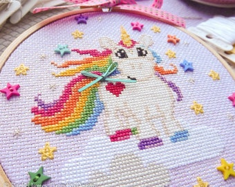 Unicorn Cross Stitch Pattern PDF | Sparkles the Baby Unicorn | Easy | Modern | Beginners Counted Cross Stitch | Instant Download
