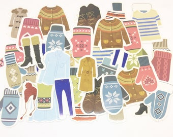 45 Winter Clothes Stickers for Scrapbooking and Planners