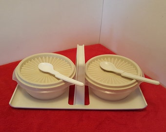 Vintage tupperware condiment caddy with two servalier bowls, tupperware jam containers, tupperware #1550 and tupperware #1323