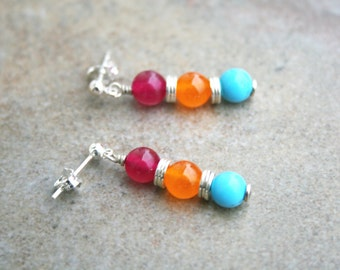 GALANTE Quartz, Turquoise and Sterling Silver Earrings