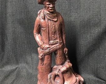 Vintage Western Sculpture by Largo Cowboy and Saddle