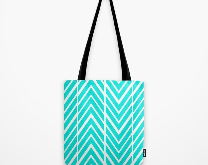 Turquoise Tote Bag - Beach Bag - Book Bag - Grocery Bag - Turquoise and White - Made to Order
