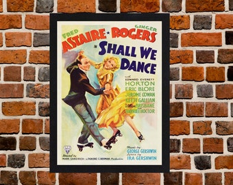 Framed Shall We Dance Fred Astaire & Ginger Rogers Movie / Film Poster A3 Size Mounted In Black Or White Frame