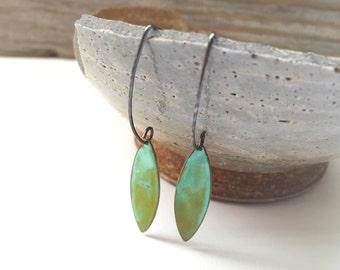 Green Verdigris Dangle Earrings