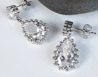 Silver Cubic Zirconia Teardrop Earrings - Wedding- Bridal - Gift for her - Bridesmaids - Prom