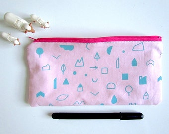 Screen printed zipped bag/ Pencil case / Make up bag / Purse